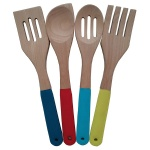 4pcs wood utensils set with silicone handle