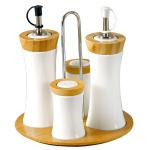 bamboo ceramic oil bottle set