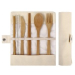 bamboo travel utensil with straw set