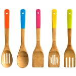 bamboo utensils set with color handle
